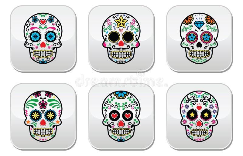 Download Mexican Sugar Skull, Dia De Los Muertos Buttons Set On White Background Stock Vector - Image: 43200226