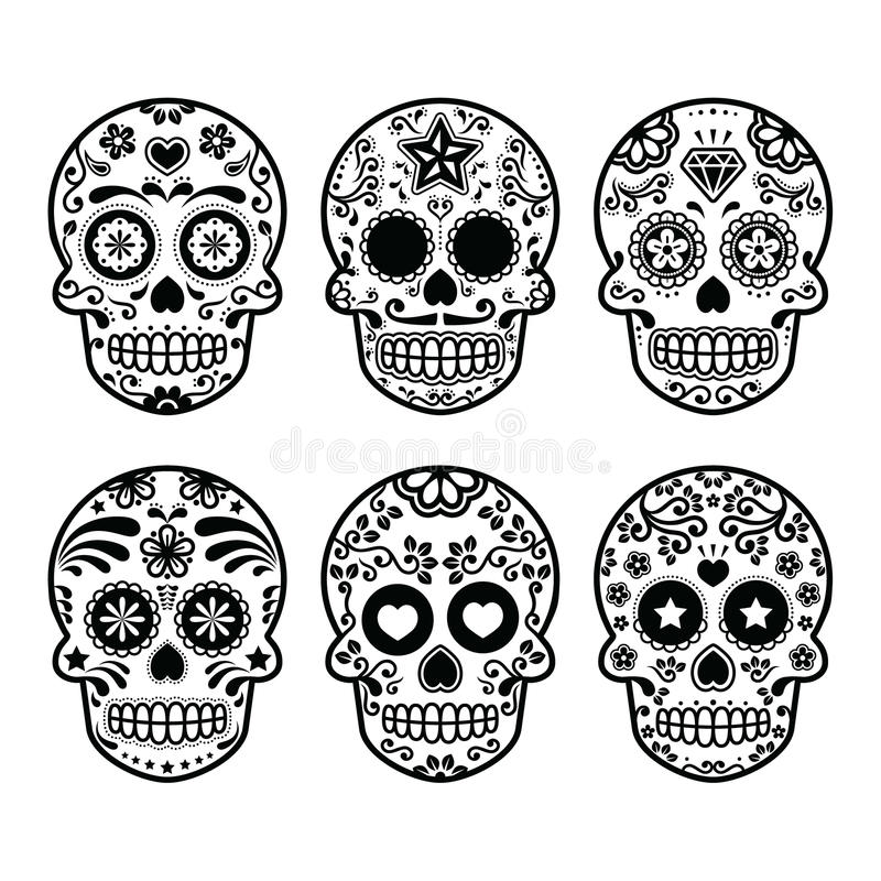 Mexican sugar skull, Dia de los Muertos icons set. Vector icon set of decorated skull - tradition in Mexico, black icons isolated on white