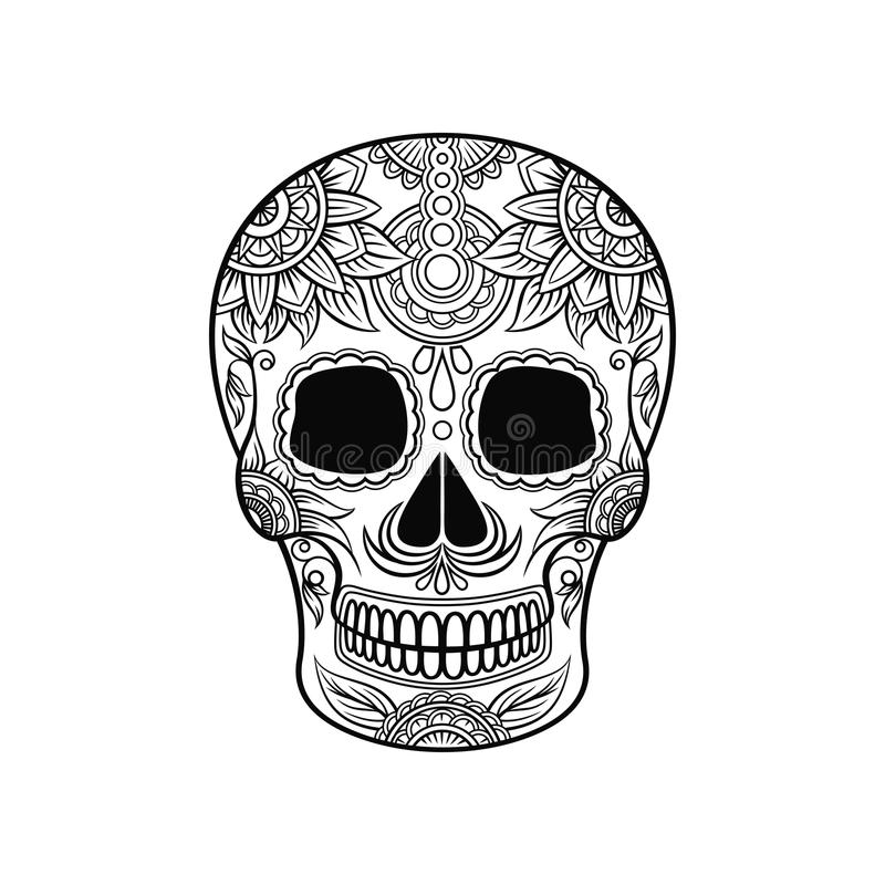 Mexican sugar skull with floral ornament, Day of the death black and white vector Illustration. Tattoo sketch royalty free illustration