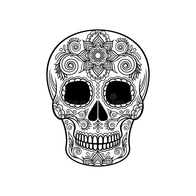 Mexican sugar skull with floral ornament, Day of the death black and white vector Illustration. Tattoo sketch stock illustration
