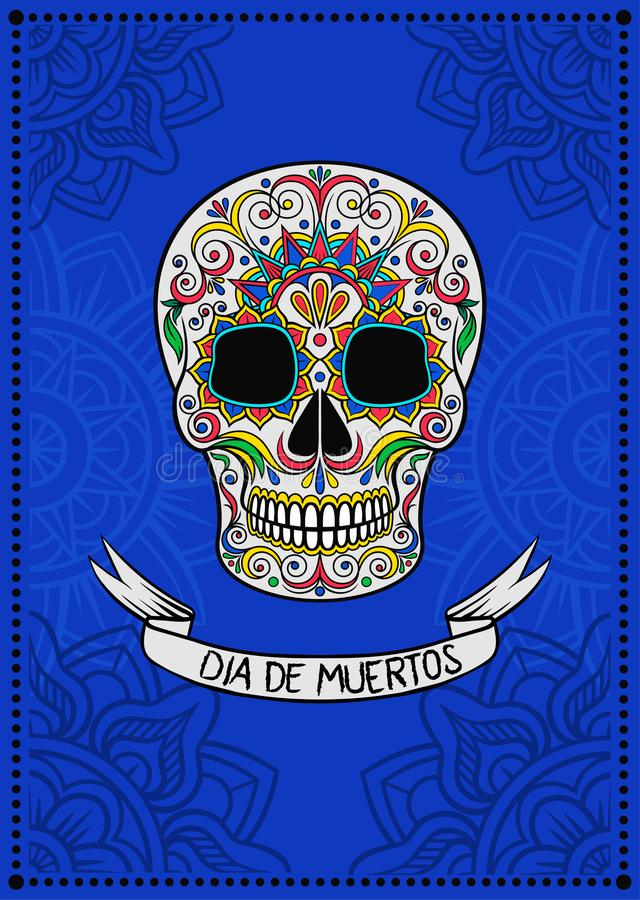 Mexican sugar skull with floral pattern, Dia de Muertos, design element for poster, greeting card vector Illustration. On a electric blue background royalty free illustration
