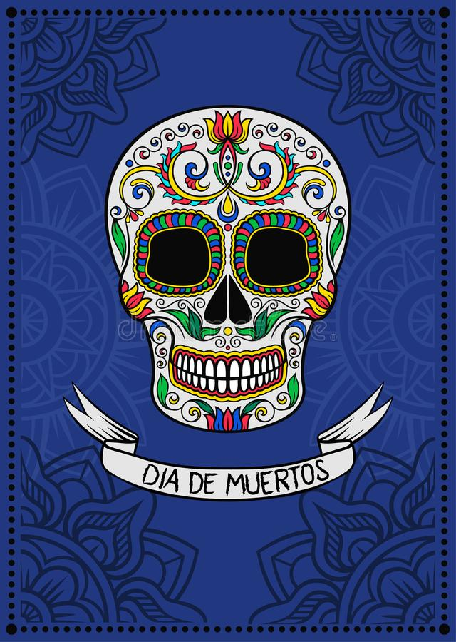 Mexican sugar skull with floral pattern, Dia de Muertos, design element for poster, greeting card vector Illustration. On a blue background vector illustration