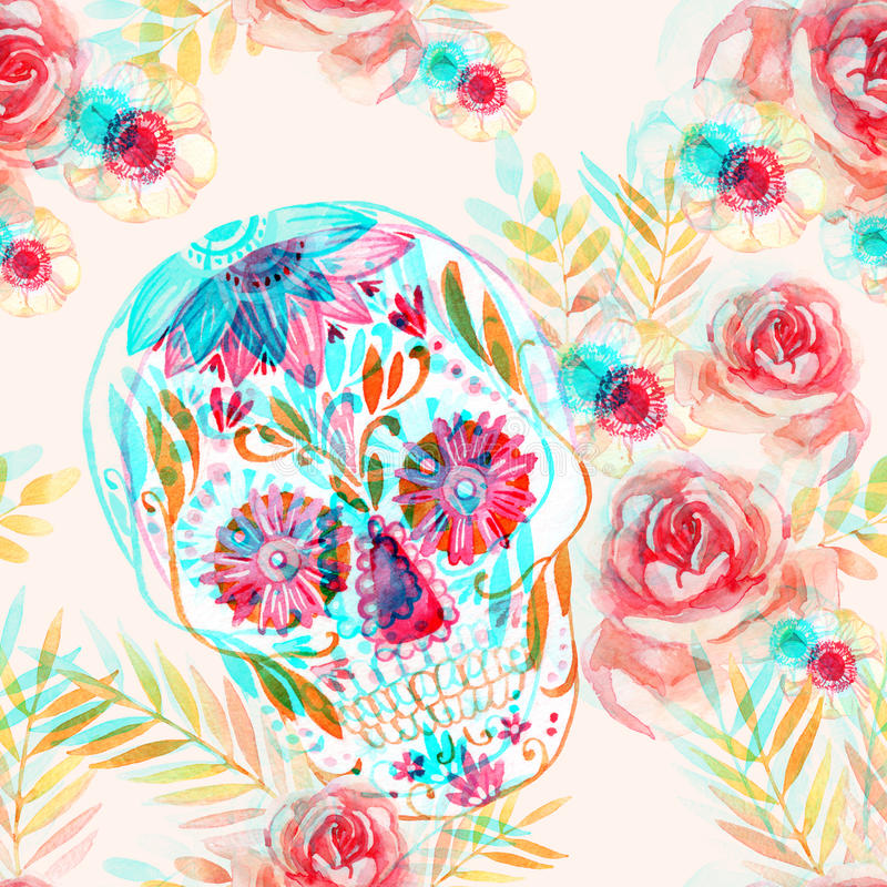 Mexican sugar skull among the flowers seamless pattern. royalty free illustration