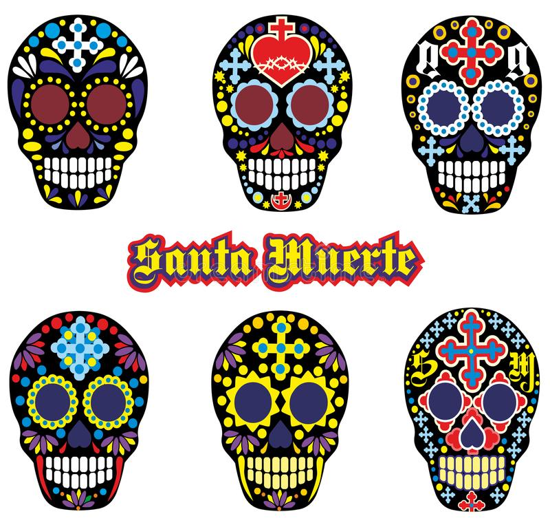 Mexican sugar skull. Holy Death, Day of the Dead, mexican sugar skull stock illustration