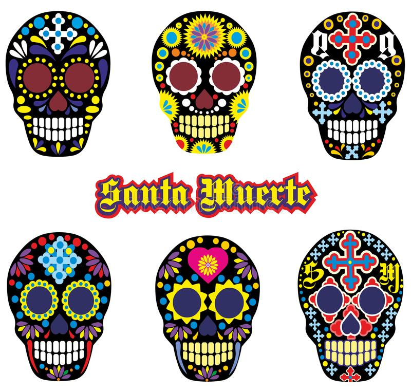 Mexican sugar skull. Holy Death, Day of the Dead, mexican sugar skull royalty free illustration