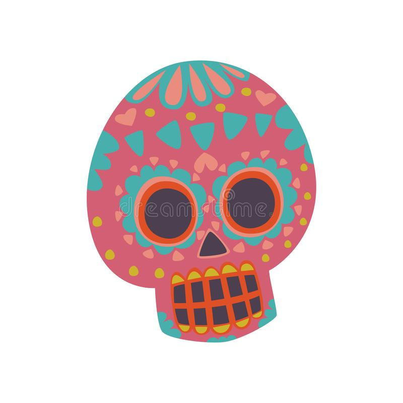 Mexican sugar skull with pattern, Dia de Muertos cartoon vector Illustration. On a white background royalty free illustration