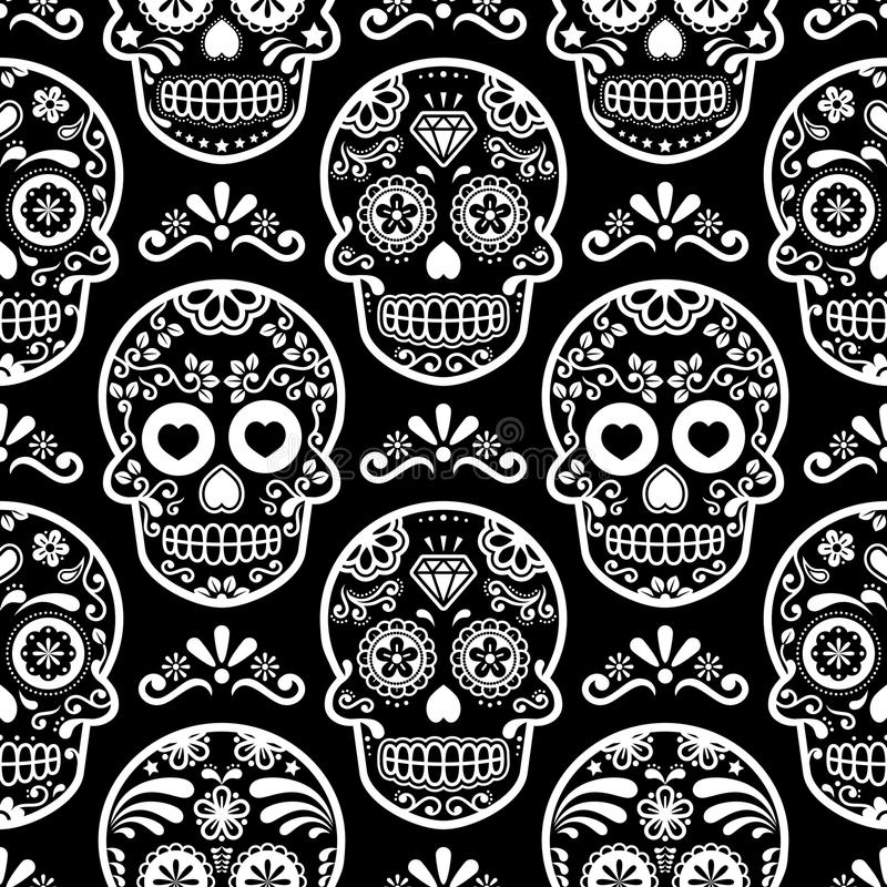 Download Mexican Sugar Skull Seamless Pattern On Black Halloween White Candy Skulls Background Day