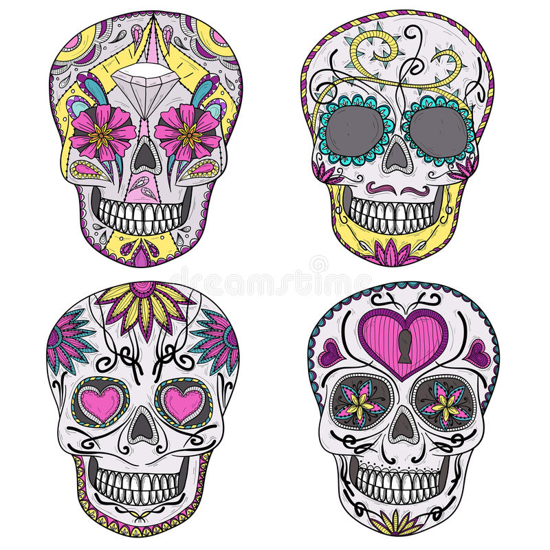 Mexican sugar skull set royalty free illustration