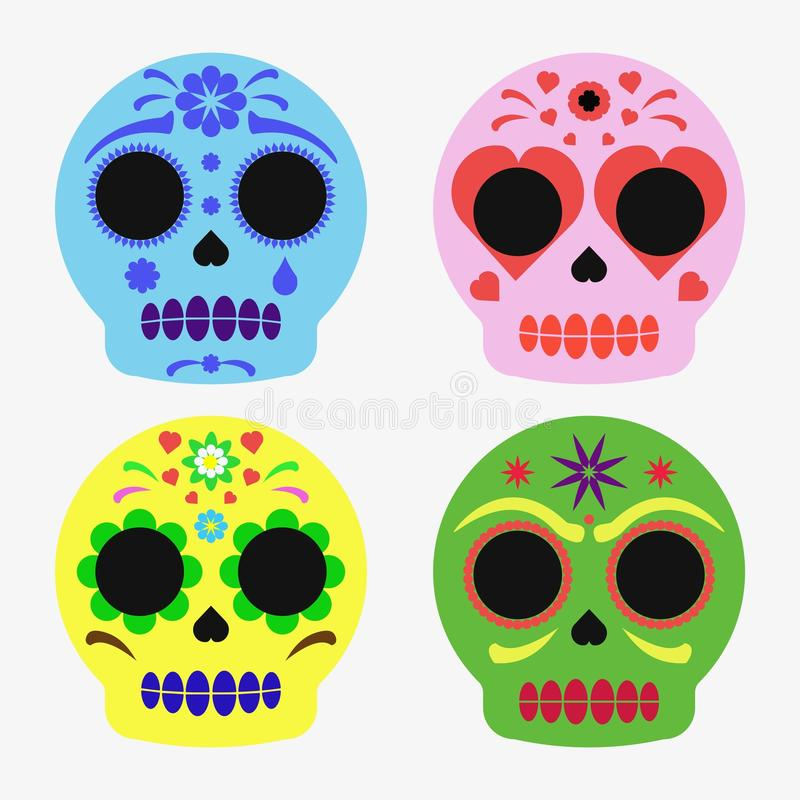 Mexican sugar skull set, day of the dead poster royalty free illustration