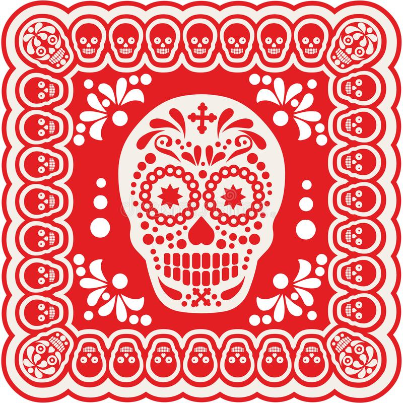 Mexican sugar skull set. Holy Death, Day of the Dead, mexican sugar skull royalty free illustration