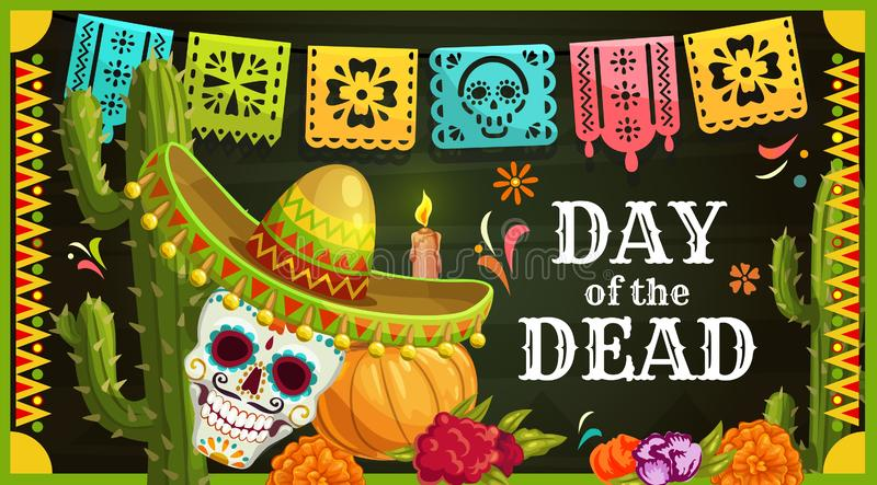 Mexican sugar skull with sombrero. Day of the Dead vector illustration