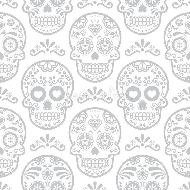 Mexican sugar skull vector seamless pattern, Halloween candy skulls background, Day of the Dead celebration, Calavera design. Grey and white wallpaper royalty free illustration