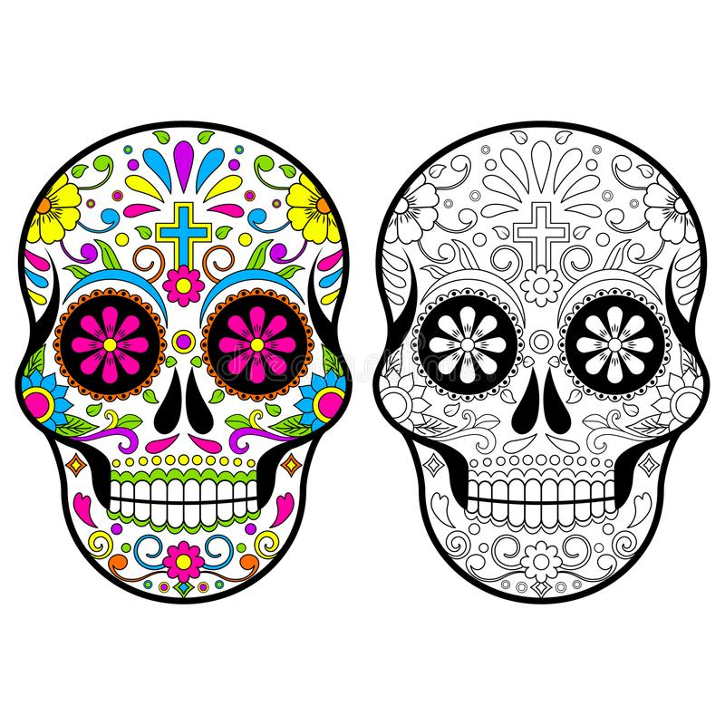 Mexican Sugar skulls, Day of the dead illustration on white background vector illustration