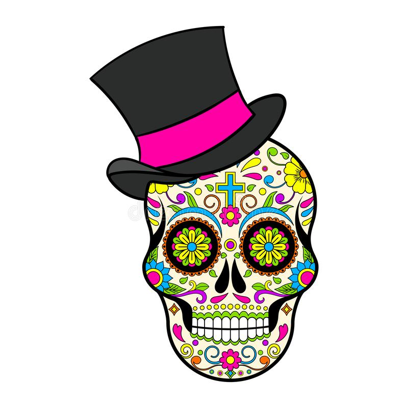 Mexican Sugar skulls with hat, Day of the dead  illustration. On white background stock illustration