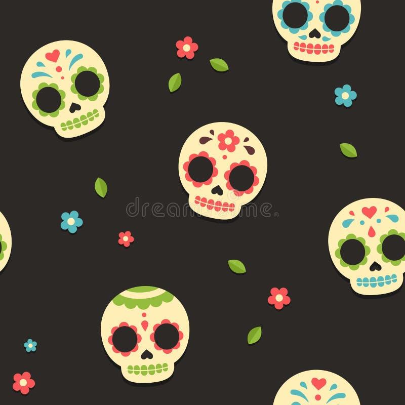 Mexican sugar skulls pattern vector illustration