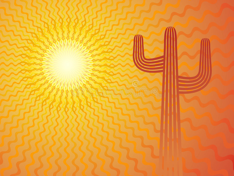 Mexican Sun. Mexican desert with cactus, vector background