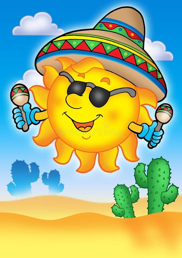 Mexican sun on blue sky vector illustration
