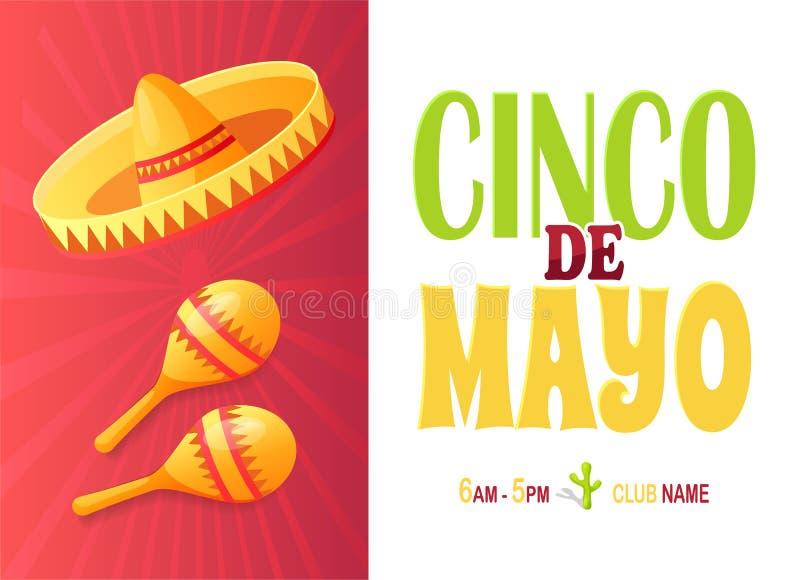 Mexican Symbols, Cinco de Mayo Mexican Holiday. Sombrero and maracas, Cinco de Mayo holiday party vector. Mexican symbols, musical instrument and Mexico hat vector illustration