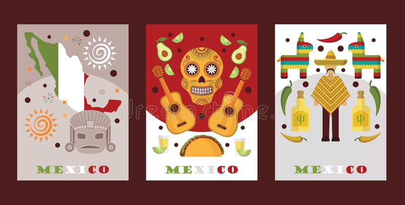 Mexican symbols for souvenir cards, vector illustration. Banners with touristic icons of Mexico, local cuisine and music vector illustration