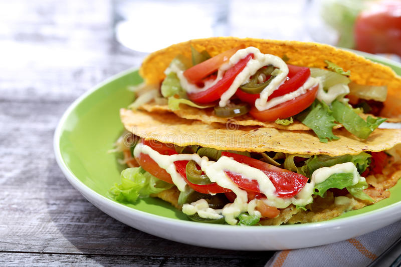 Mexican taco classic minced beef royalty free stock images