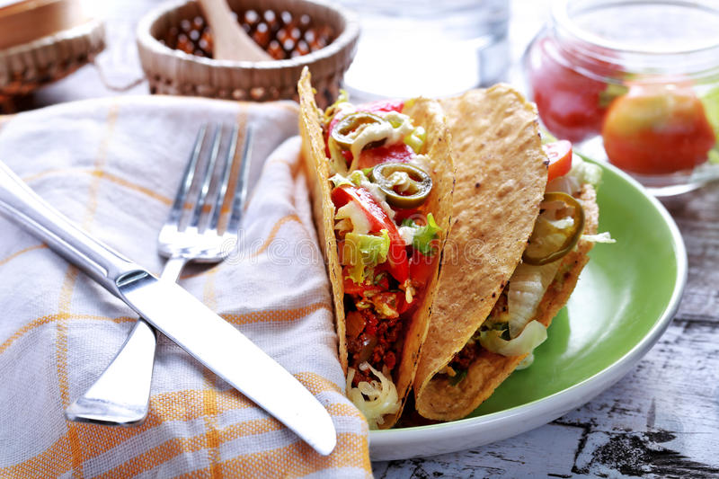 Mexican taco classic minced beef royalty free stock photos
