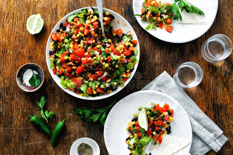 Mexican taco salad plate dark wooden table stock photos