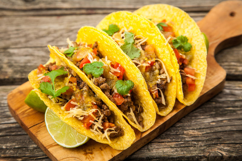 Mexican tacos with beef stock image