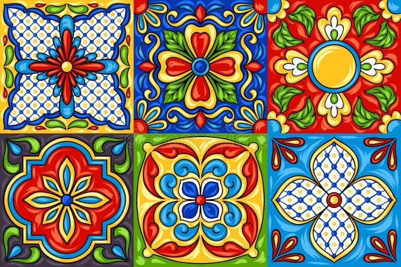 Mexican talavera ceramic tile pattern. royalty free illustration