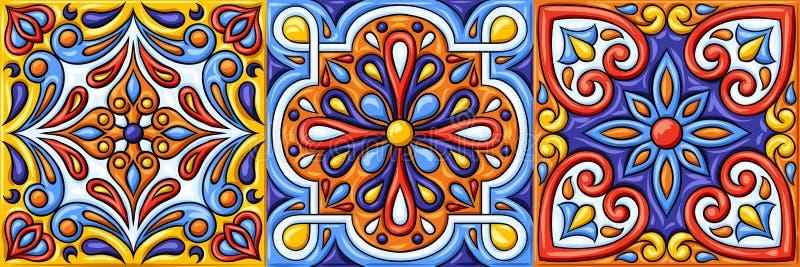 Mexican talavera ceramic tile pattern. Ethnic folk ornament. Italian pottery, portuguese azulejo or spanish majolica vector illustration