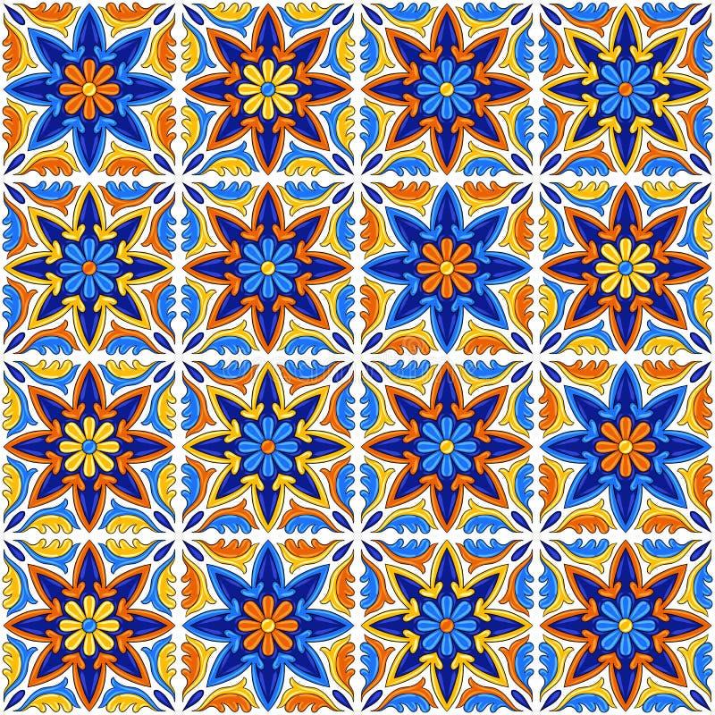 Mexican talavera ceramic tile pattern. Ethnic folk ornament. Italian pottery, portuguese azulejo or spanish majolica royalty free illustration