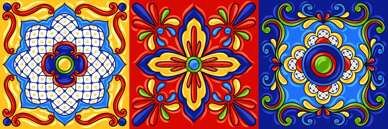 Mexican talavera ceramic tile pattern. stock illustration