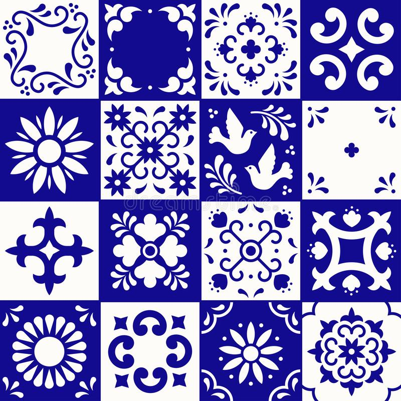 Mexican talavera pattern. Ceramic tiles with flower, leaves and bird ornaments in traditional style from Puebla. Mexico royalty free illustration