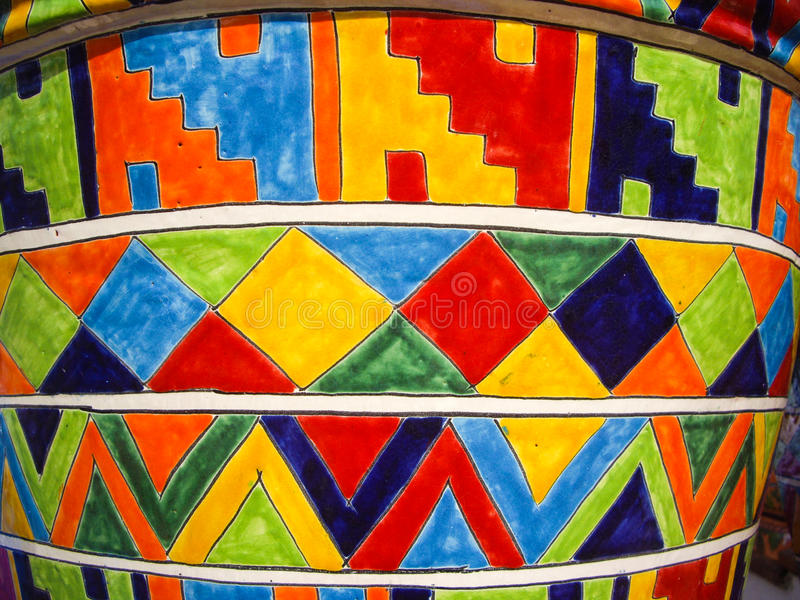 Mexican Talavera pot. Colorful Mexican pottery with a linear design royalty free stock photography