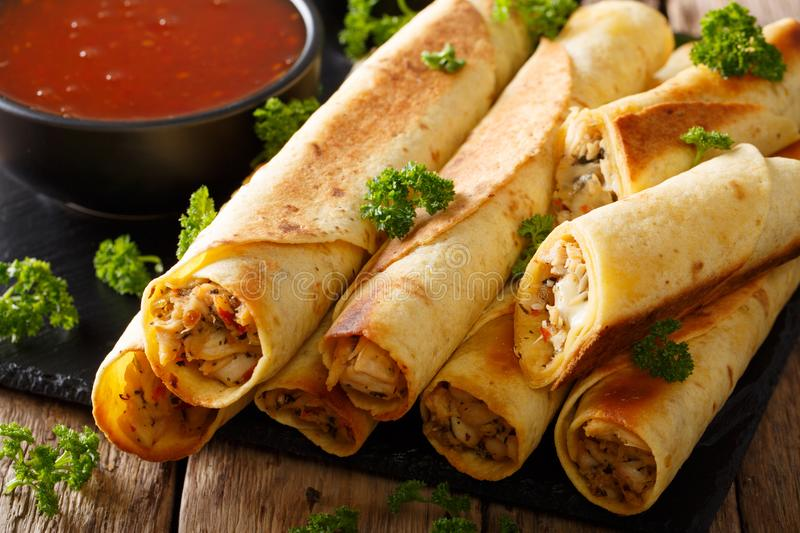 Mexican taquitos with chicken and chili sauce close-up. horizontal. Mexican taquitos with chicken and chili sauce close-up on table. horizontal royalty free stock photos