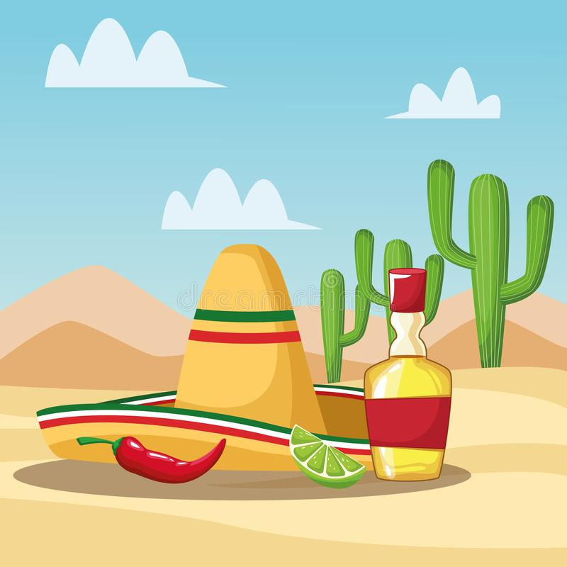 Mexican tequila cartoons. Mexican tequila chilli and hat in the desert cartoons vector illustration graphic design royalty free illustration