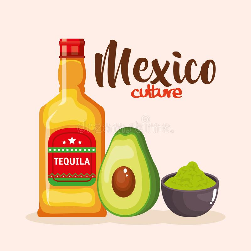 Mexican tequila and guacamole sauce vector illustration