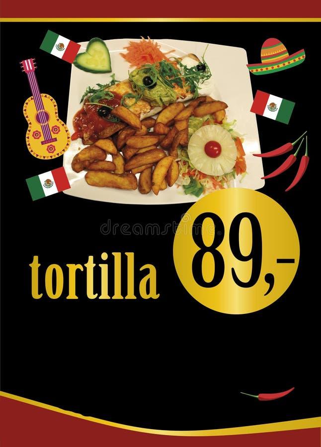 Mexican tortilla. Mexican fajita. Mexican wrap. Tortilla plaques. Wrap menu design. Mexican brochure. Tortilla with salsa sauce, guacamole sauce and white vector illustration