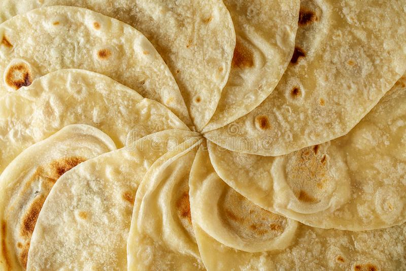 Mexican tortilla wrap background or texture top view. royalty free stock photos