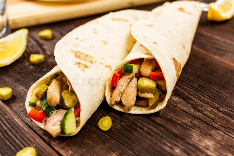 Mexican tortilla wrap stock images