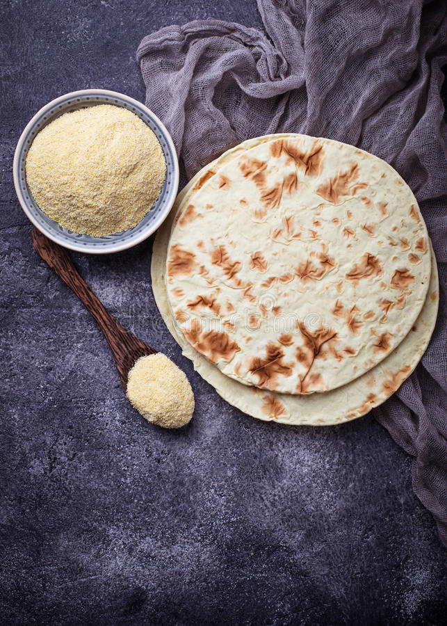 Mexican tortillas and corn flour stock images