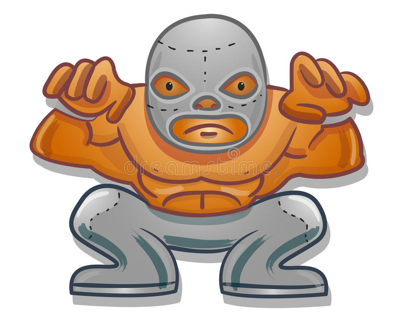 Mexican traditional cartoon wrestler. Hand drawn vector illustration or drawing of a Mexican traditional cartoon wrestler stock illustration
