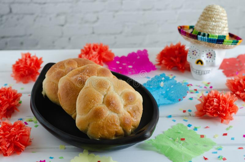 Mexican celebration, day of the dead. Bread of the dead. stock photography