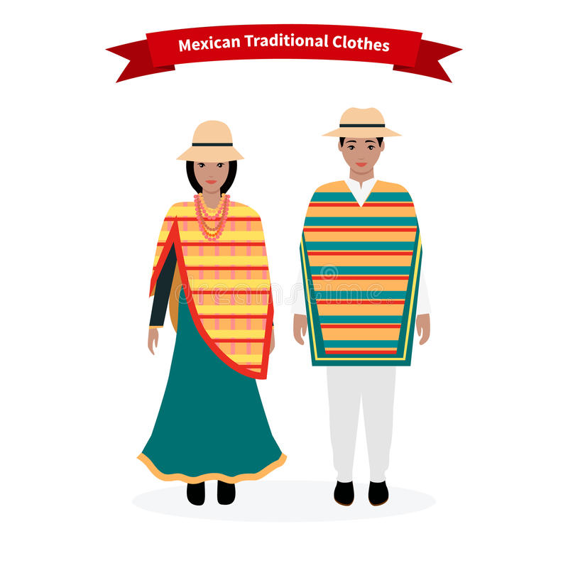 Ethnic National: Mexican Traditional Clothes People Stock Vector
