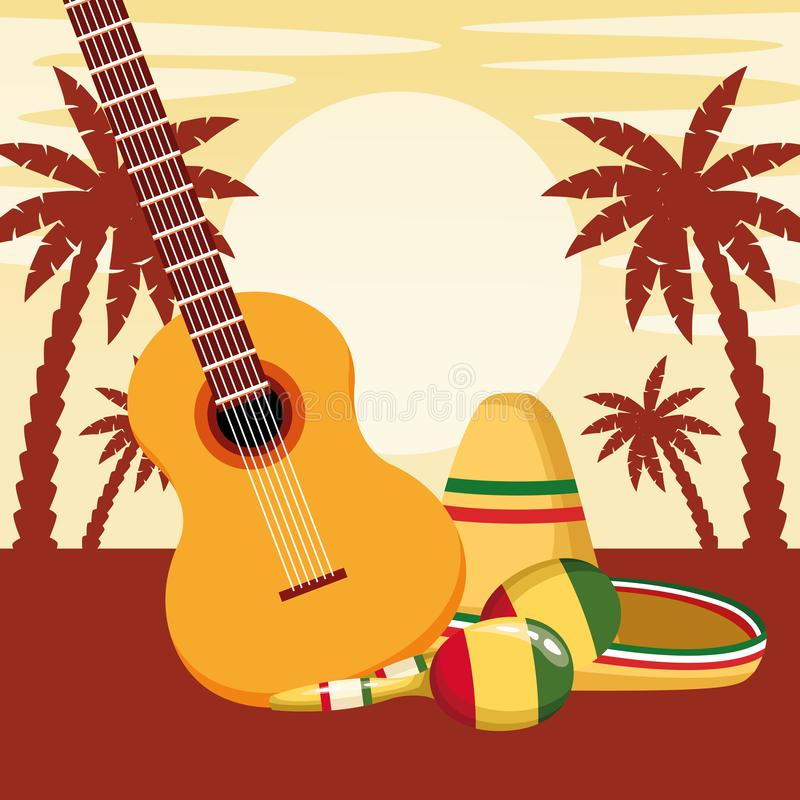 Mexican traditional culture icon cartoon. Mexican traditional culture with guitar, maracas and mexican hat icon cartoon in sunny landscape with palms silhouette royalty free illustration