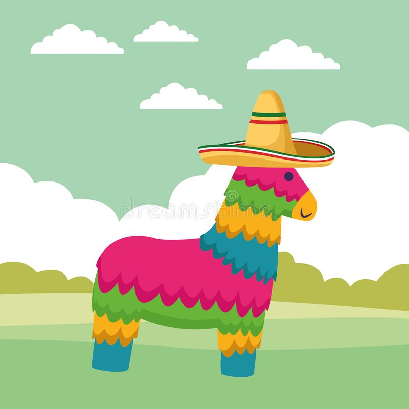 Mexican traditional culture icon cartoon. Mexican traditional culture with horse pinata and mexican hat icon cartoon over the grass with shruberry and clouds stock illustration