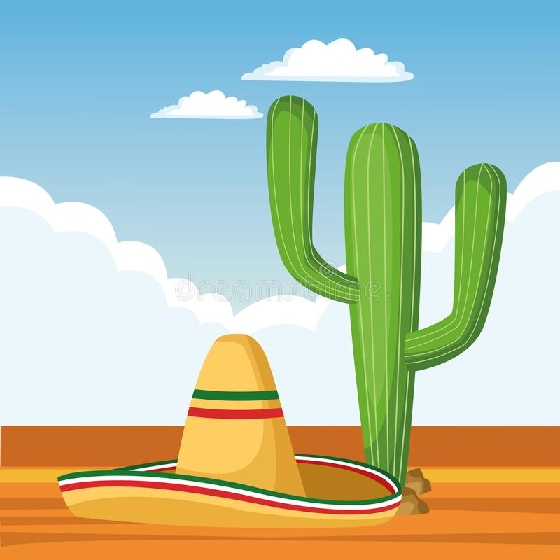 Mexican traditional culture icon cartoon. Mexican traditional culture with catus and mexican hat icon cartoon over the sand with cloudy sky in a desert landscape royalty free illustration