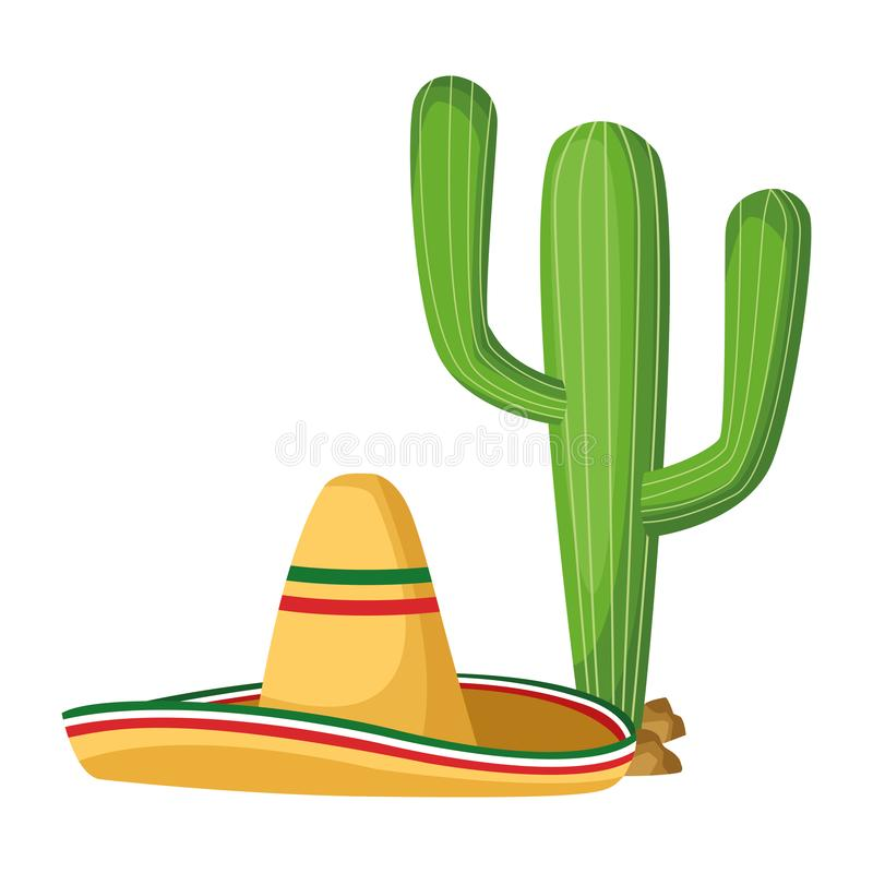 Mexican traditional culture icon cartoon. Mexican traditional culture with catus and mexican hat icon cartoon vector illustration graphic design royalty free illustration