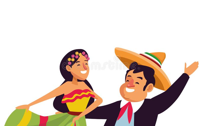 Mexican traditional culture icon cartoon. Mexican traditional culture mariachis with dancer woman with flower in her hair and man with mexican hat and suit stock illustration