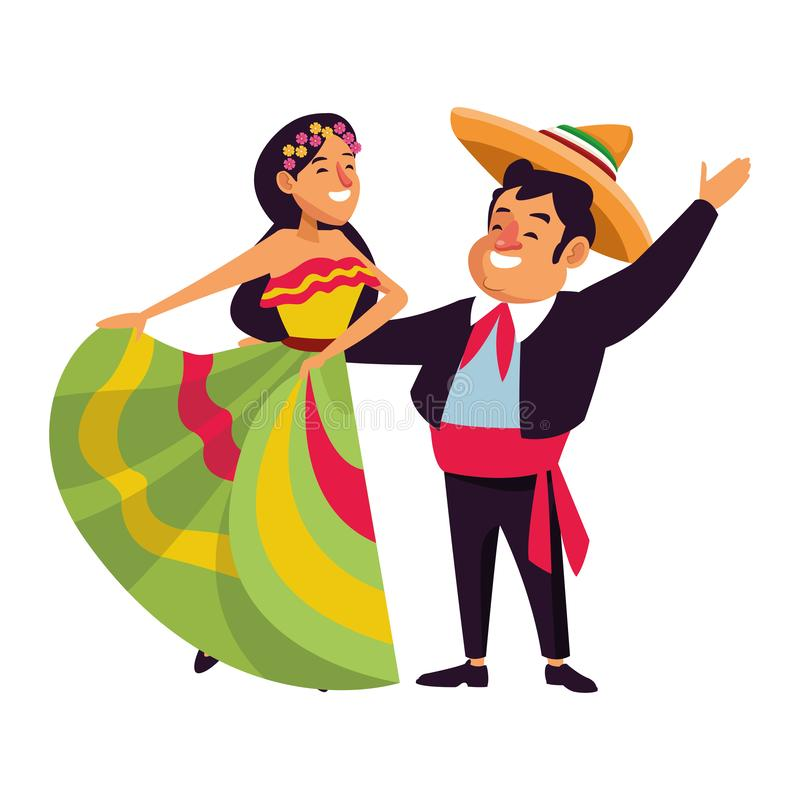 Mexican traditional culture icon cartoon. Mexican traditional culture mariachis with dancer woman with flower in her hair and man with mexican hat and suit vector illustration