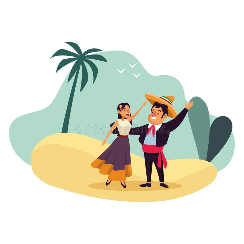 Mexican traditional culture icon cartoon. Mexican traditional culture mariachis with dancer woman with flower in her hair, man with moustache, mexican hat and stock illustration
